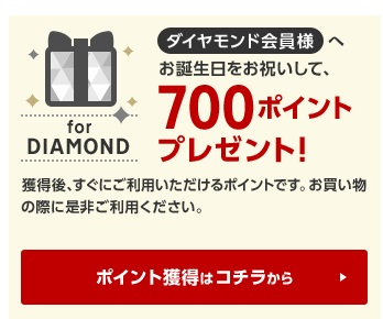 誕生日に楽天から700ポイントプレゼント!※ダイヤモンド会員特典